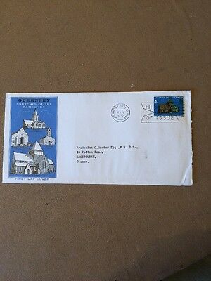 Guernsey 1970 4d Churches single stamp FDC Guernsey Post Office FDI Envelope SHS