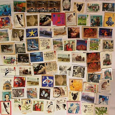 80+ Stamps, Gb, 1990' 2000, Variety Of Great Britain,modern, Small Kiloware,used