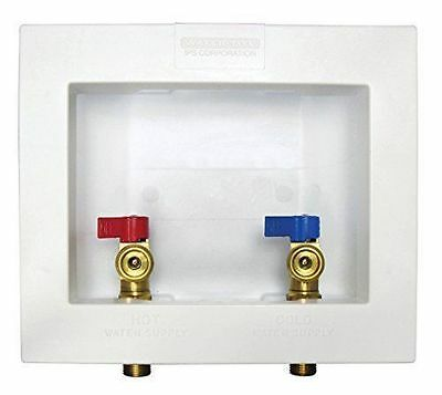 Water-Tite 81977 Washing Machine Outlet Box with Brass Quarter turn ball valves