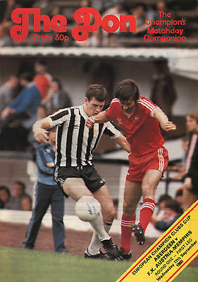 1980/81 Aberdeen v FK Austria-Memphis, European Cup - PERFECT CONDITION