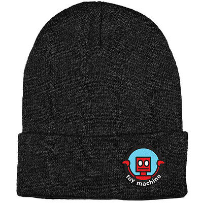 "New with Tags TOY MACHINE Skateboards ""Robot"" Cuff Beanie (Heather Black)"