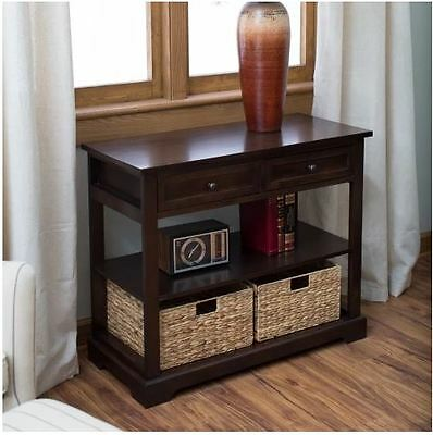 Console Tables For Entryway Sofa Table With Storage Baskets Antique Espresso New