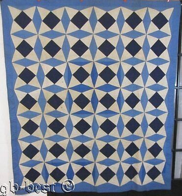 """Oh The Blues! c 1920s Crescent Touching Stars Vintage Quilt 82"""" x 70"""" NEVER USED"""