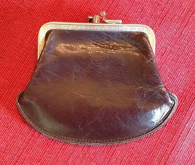 Vintage Chocolate Brown Genuine Calf Leather Kiss Lock Coin Purse Wallet