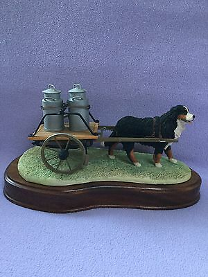"""Border fine arts  """" BERNESE MOUNTAIN DOG  """" with  Cart and Milk Churns"""