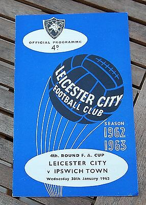 Leicester City v Ipswich Town 1962/63 FA Cup Football Programme