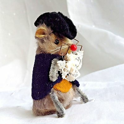 Original Fur Toys Germany Miniature Colonial Mouse Tricorn Hat Spectacles