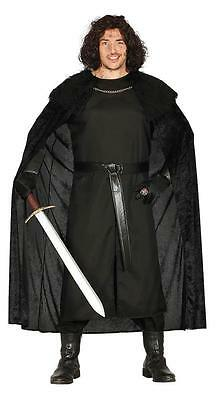 Mens Game of Thrones Costume Medieval Mercenary Jon Snow Fancy Dress Outfit NEW