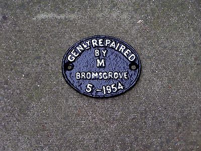 BR WAGON REPAIR PLATE: GENly REPAIRED by  M  BROMSGROVE 5-1954