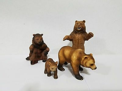 Schleich lot of 4 Brown Grizzly bears incl. 14129 sitting &  14129 standing bear