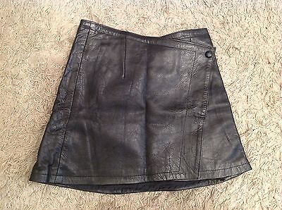 Vintage Leather Black Wrap Round Mini Skirt By Leather Collection