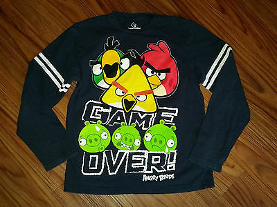 Boys size L (10-12) Angry Birds long sleeve black t-shirt.