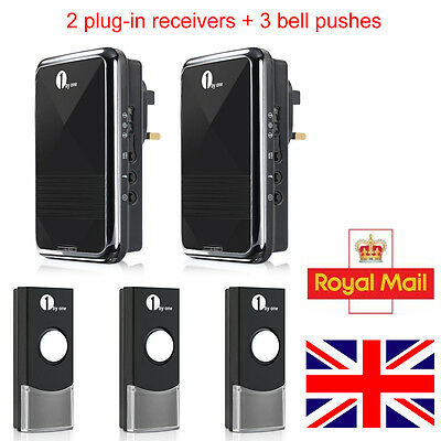 1Byone Unlimited Match Plug-in Wireless DoorBell Chime 2 Receivers + 3 Bell Push