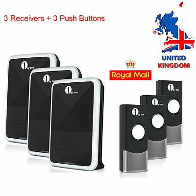 3 Pair Easy Match Wireless Visitor Ring Door Bell Chime LED Flash 100M 36 Tunes
