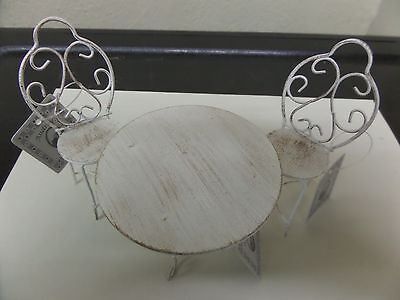 Fairy Garden Shabby Chic White Metal Table & Two Chairs