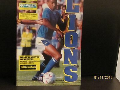 MILLWALL v WOLVES 1991/92 MATCHDAY PROGRAMME