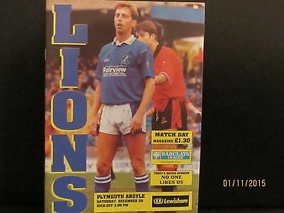 MILLWALL v PLYMOUTH ARGYLE 1991/92 MATCHDAY PROGRAMME