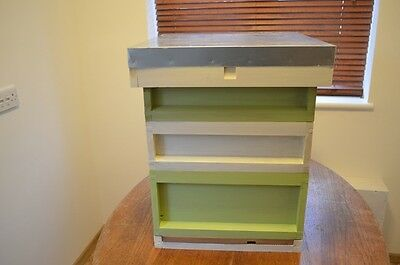 National bee hive, cedar, fully assembled -painted cream and green