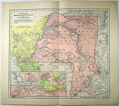 Original 1891 Map of The Independent State of the Congo by Fisk & Co. Africa
