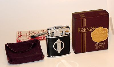 unused 1930s art deco black enamel ronson princess automatic lighter in box