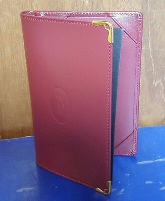 Authentic Must de Cartier Red Burgundy Leather Bifold Notepad Card Holder Wallet