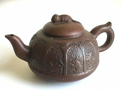 Vintage Asian Chinese Yixing Clay Pottery Teapot Animal Motif