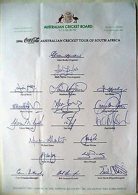 Australia To South Africa 1994 – Scarce Cricket Official Autograph Sheet