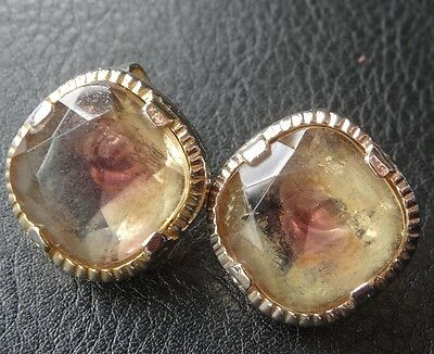 vintage purple amber givre glass gold tone clip on earrings c. 1960s -D376