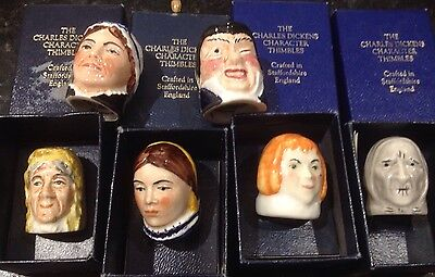 Charles Dickens Character Thimble, Collectible X 6, Staffordshire England