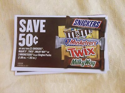 20 Coupons 50 Cents Off 2 M&ms, Snickers, Twix, 3Musketeers Milky Way Bars 4/30