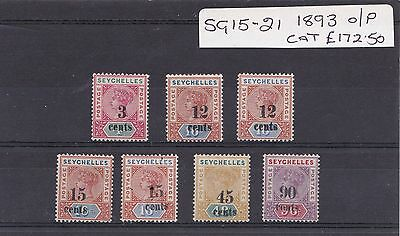 Seychelles  1893 Set of 7 Surcharged  Provisionals Fine mint