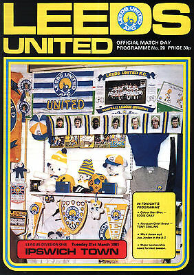 1980/81 Leeds United v Ipswich Town, Division 1, PERFECT CONDITION