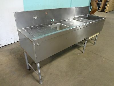 """""""PERLICK"""" COMMERCIAL H.D.BAR STATION w/COLD PLATE ICE BIN,WASH SINK, DRAIN BOARD"""
