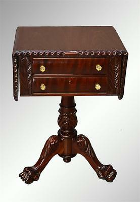 16855A Antique Mahogany Empire Acanthus Carved Drop Leaf Two Drawer Sewing Stand