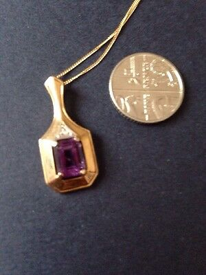 """9ct Yellow Gold Amethyst And Small Diamond Pendant On A 18"""" Fine Gold Chain"""
