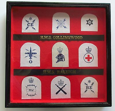 FRAMED Collection of ROYAL NAVY Badges & Tallies - HMS Collingwood / Raleigh