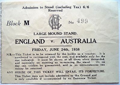 ENGLAND v AUSTRALIA 1938 – 2nd TEST AT LORD'S OFFICIAL MATCH TICKET