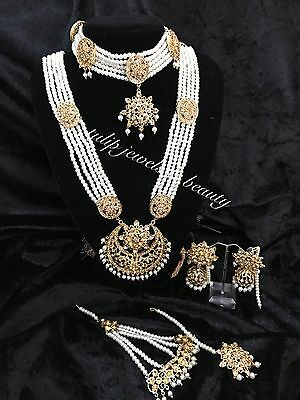 Wedding  jewelry Indian/Pakistani Rani haar, Gulluband, Earrings,tikka & Jhummar