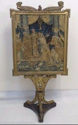 Antique Italian Carved & Gilted Firescreen W Great Needlepoint Tapestry