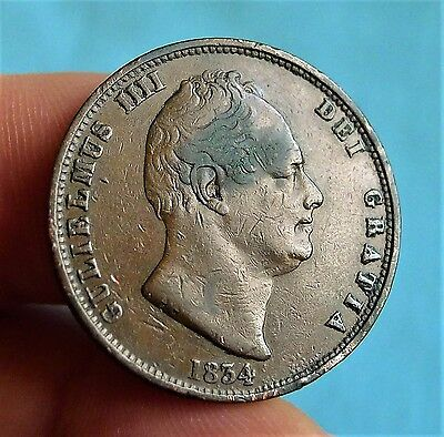 1834 William Iv Copper Half Penny, Reasonable Detail Though Cleaned + Stained.