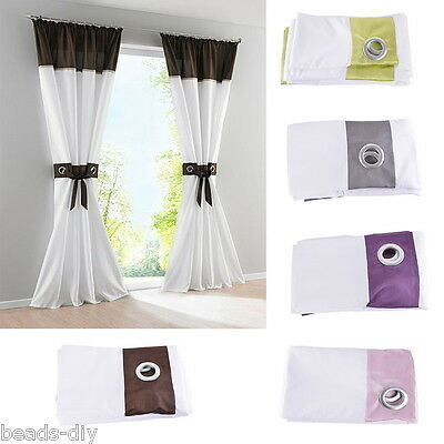 1PC Grommet Bedroom Living Room Patchwork Curtains Eyelet Ring Top Curtain Panel