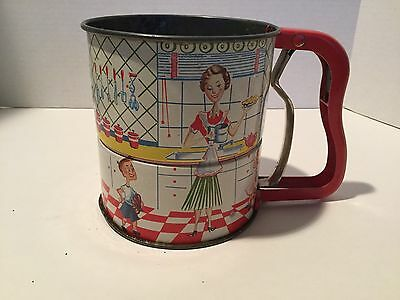 Vintage Androck Hand-i-Sift 3 Screen Flour Sifter Tin Litho Kitchen Scene