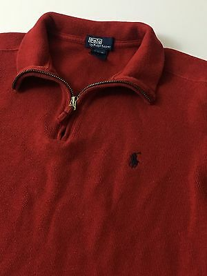 Polo Ralph Lauren Red 1/2 Zip Cotton Pullover Sweater BOYS Size SMALL 8-10 Youth
