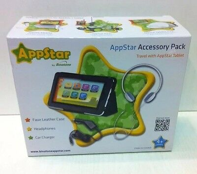 "3x APPSTAR 7"" TABLET ACCESSORY PACK - Faux Leather Case, Headphones Car Charger"