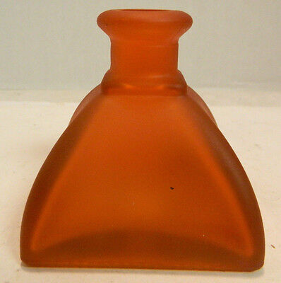 """Vintage Frosted Red Pact Tapered Square Base Bottle 94 554 2.75"""" x 2.75"""" x 3"""""""