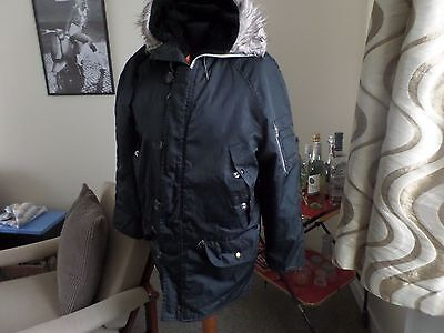 ORIGINAL VINTAGE RETRO SNORKEL PARKA COAT 1970's / 80's SMALL/MEDIUM. BLACK.