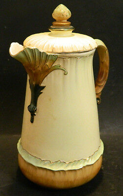 Beautiful Antique Hampshire Pottery Keene NH Cream Colored Chocolate Pot Excell