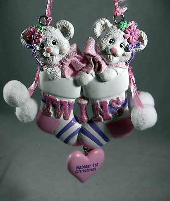 Girl Bear Twins in Pink Stockings Christmas Tree Ornament new holiday