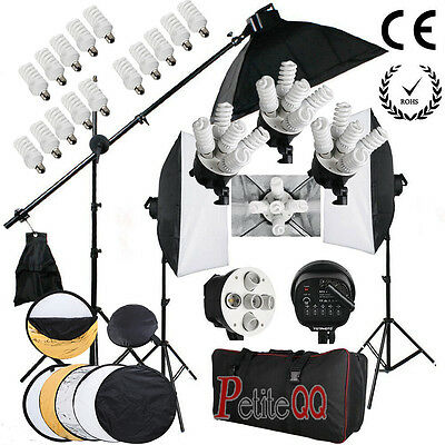 2850W Photography Continuous Lighting Soft Box Softbox Studio Kit Boom Arm UK