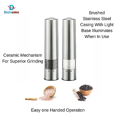 2x Battery Operated Salt Pepper Grinder Shaker Spice Mill Dried Herb Light up
